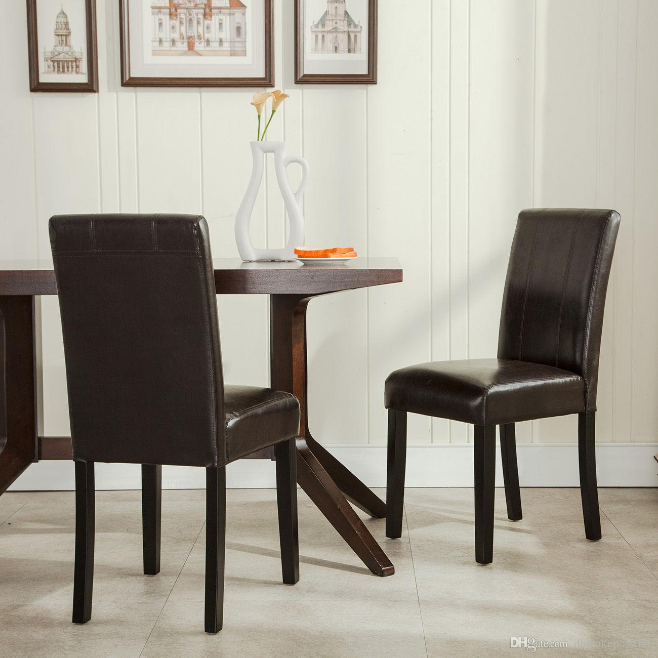 Charmant Satz Von 2 Elegant Design Möbel Leder Parsons Esszimmer Stühle Sitz Braun