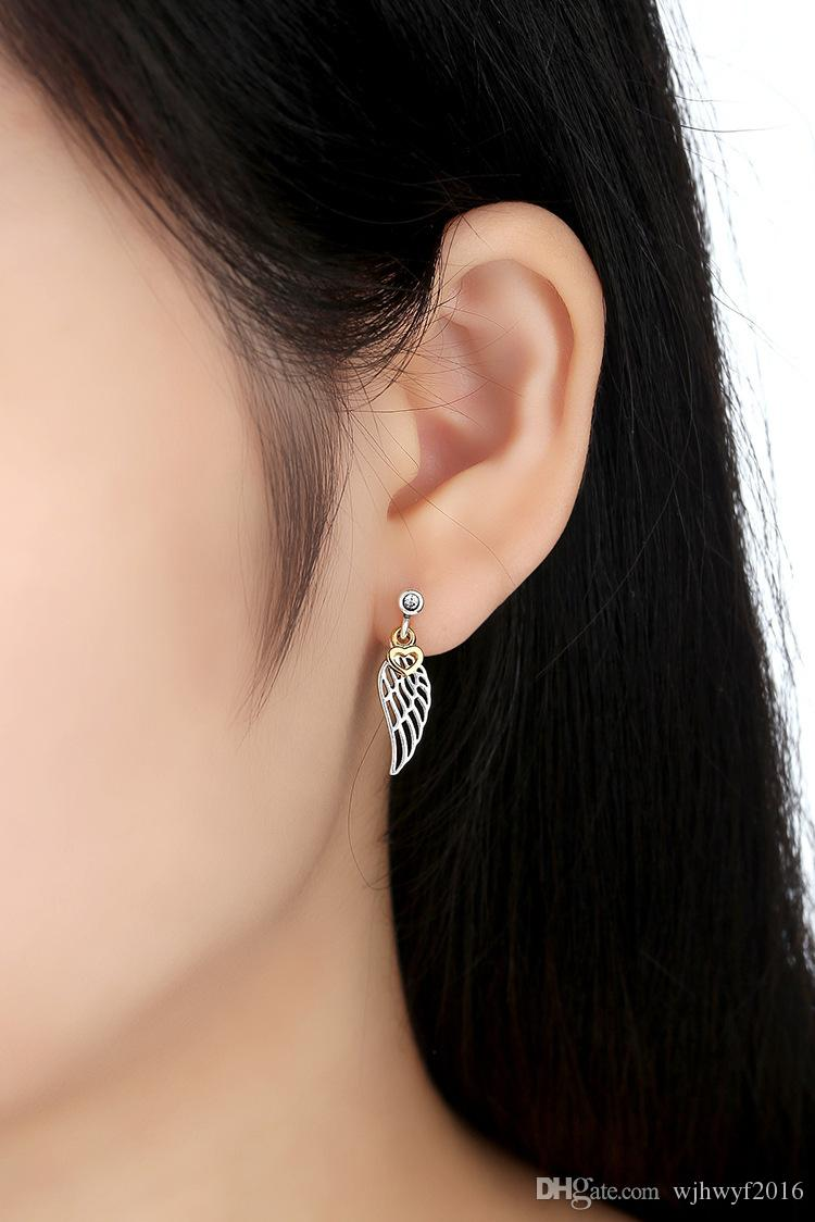 New Clear Crystal Pave Angel Wings Love Hearts Stud Earrings For Women Authentic 925 Sterling Silver Earrings For Women Fashion Jewelry