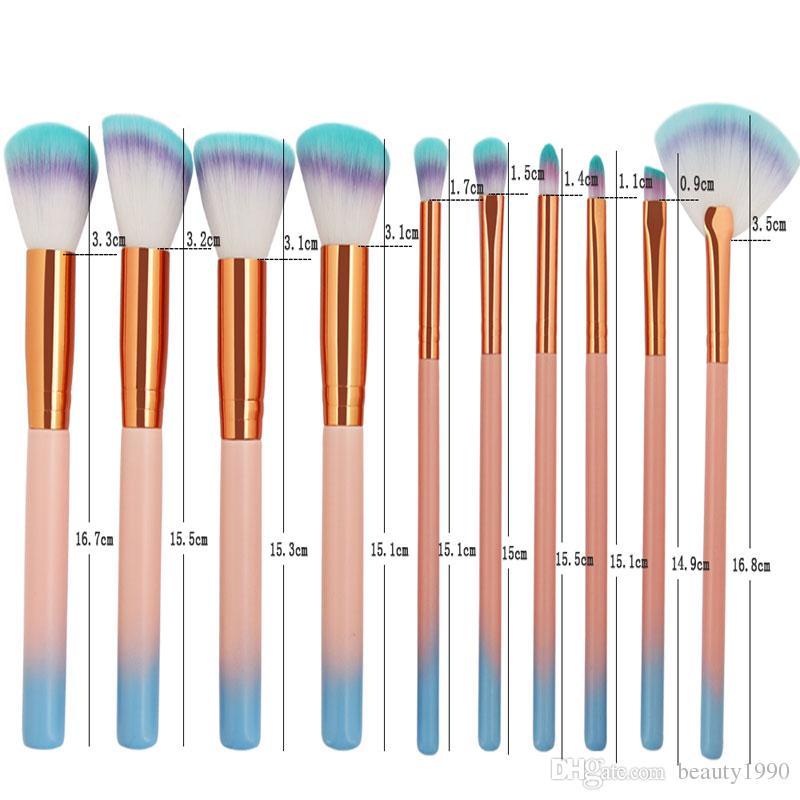 10шт/комплект макияж кисти набор румяна рассыпчатая пудра тени для бровей BB крем корректор контура вентилятора губы макияж кисти инструмент