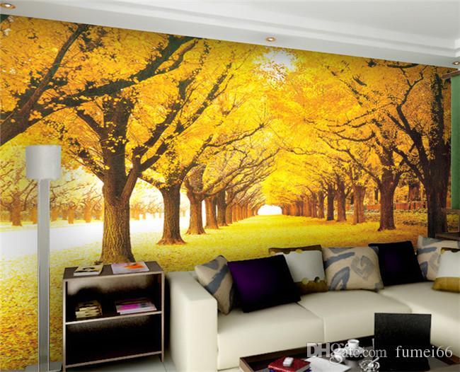 Personnalisé 3D Wall Mural Papier Peint Paysage Naturel Automne Paysage Forêts Jaunes Charge Couvert Feuilles Papier Peint Pour Salon