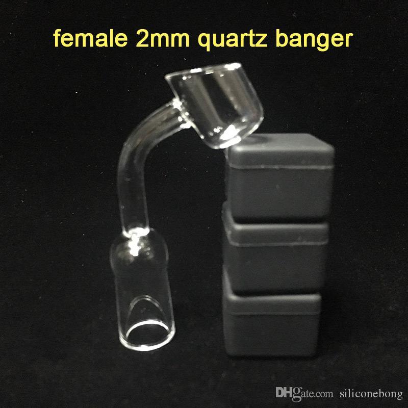 Darmowa wysyłka Real Quartz Banger Paznokci 2mm Puchar Gruby 45 stopni 14mm Joint Kobieta Thermal Quartz Banger Wax wiadro na Bubbler