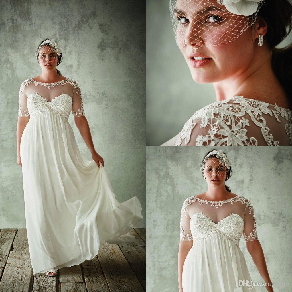 Moda Plus Size vestidos de noiva com mangas meia Sheer Jewel Neck uma linha Lace Appliqued vestidos de noiva Chiffon Império cintura vestido de noiva