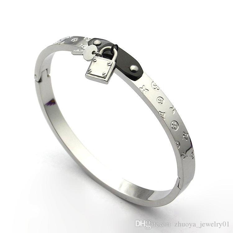 lock Cuff Bracelet Gold color Stainless Steel Bangles Bracelets For Women bracelet Pulseiras fashion jewelry bangles