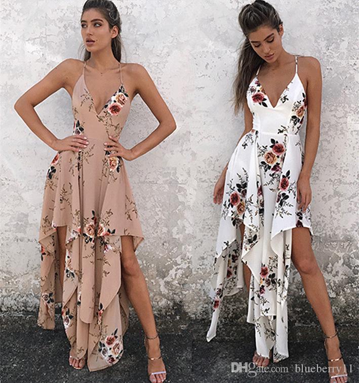 Moda bohemia verano sexy cuello en v largo maxi vestido largo estampado floral suelta sin mangas elegante boho vestido de playa blanco ropa de mujer