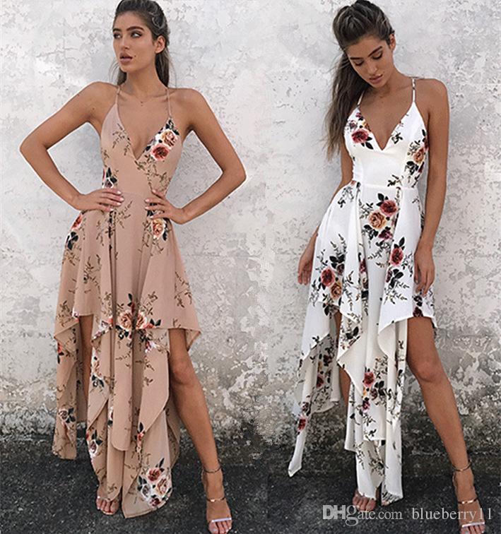 mode bohème été sexy longue robe longue maxi col v imprimé floral casual casual lâche sans manches élégante robe de plage boho blanc femmes vêtements