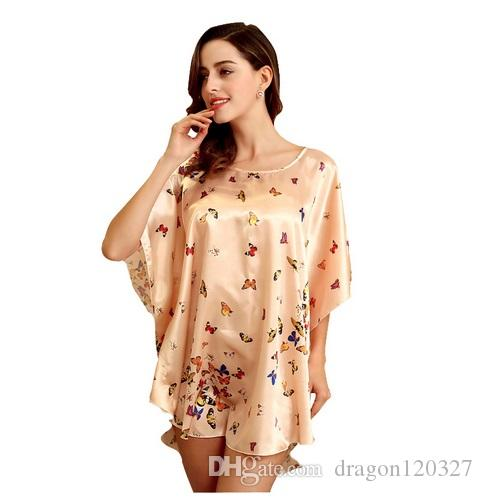 5f7f59f4cd 2019 Women Faux Silk Robe Plus Size 6XL Fashion Butterfly Print Summer Lounge  Sleepwear Home Dress Robe Gown Nightshirt Casual Night Dress Tops From ...