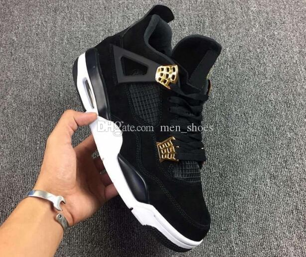 ac59176e21a56d High Quality 4 4s Royalty Suede Black Gold Men Basketball Shoes 4s Royalty  Black Suede Sports Sneakers New With Shoes Box Basket Ball Shoes Barkley  Shoes ...