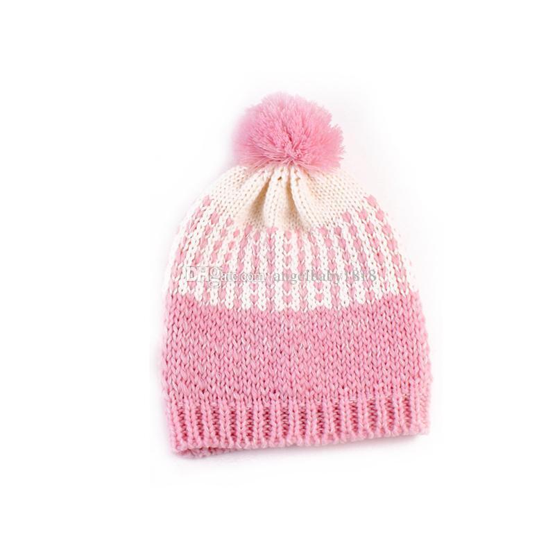 Fashion Baby Girls Crochet Woolen Yarn Hats Kids Hand Made Knitting Warm Caps Earflap Autumn Winter Beanie Ear Warmer with hair bulb
