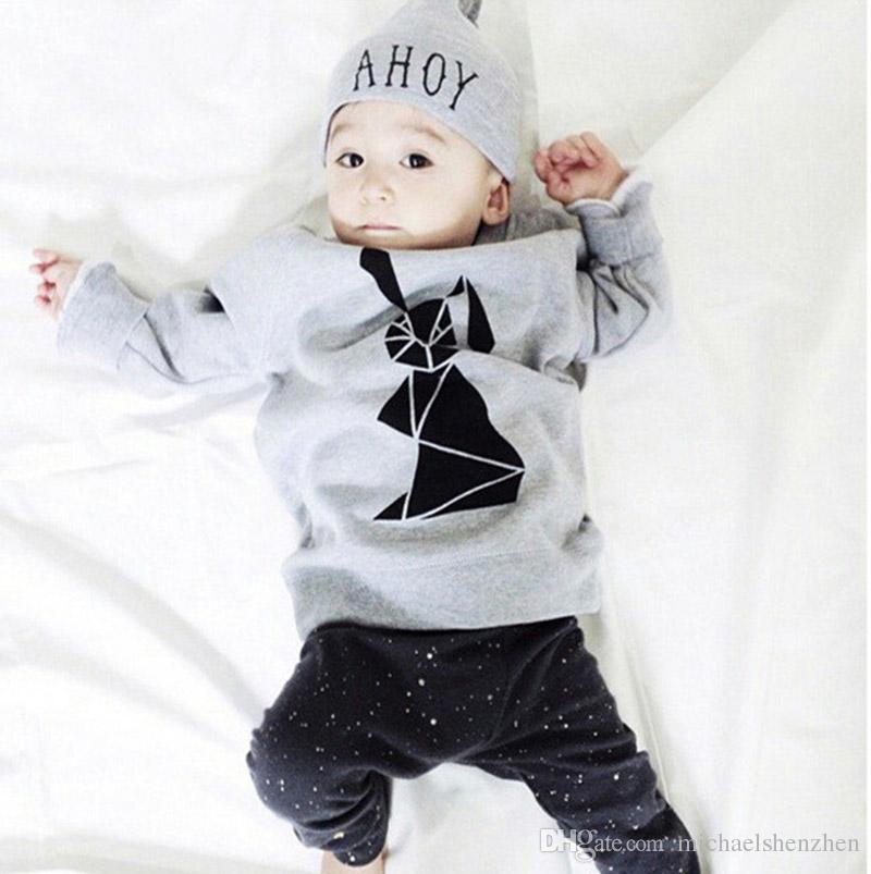 30 Style bébé INS lettre de rayure de renard convient à l'enfant Toddler Infant Casual T-shirt à manches longues + pantalon ensembles pyjamas nouveau-né vêtements