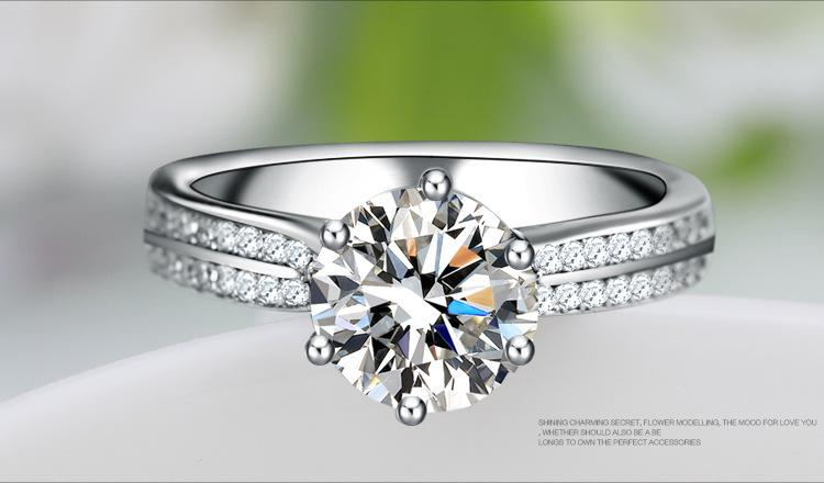 Engagement White Diamond 14KT Gold Filled Wedding Band Ring Gift Real 925 Sterling Silver Rings