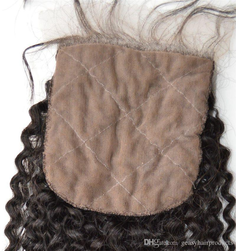Human Hair Wefts Bundles With Closure Peruvian Virgin Hair Afro Kinky Curly Silk Base Closure Bleached Knots G-EASY