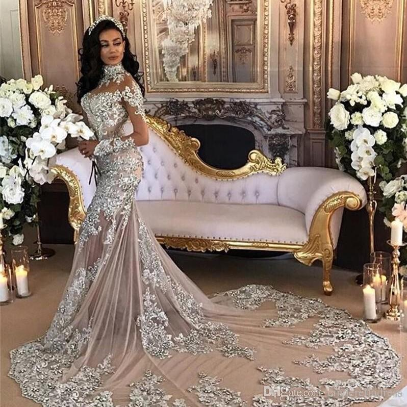 2017 Arabic Luxury High Neck Crystal Wedding Dresses With Detachable Over Skirt Long Sleeves Beaded Applique Mermaid Beach Bridal Dress Gowns