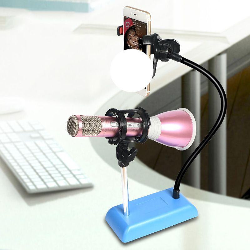 العالمي ستوديو ميكروفون ميكروفون سطح المكتب حامل محول مع مقطع Finefun الهاتف المحمول لايف حامل القوس مرنة جبل