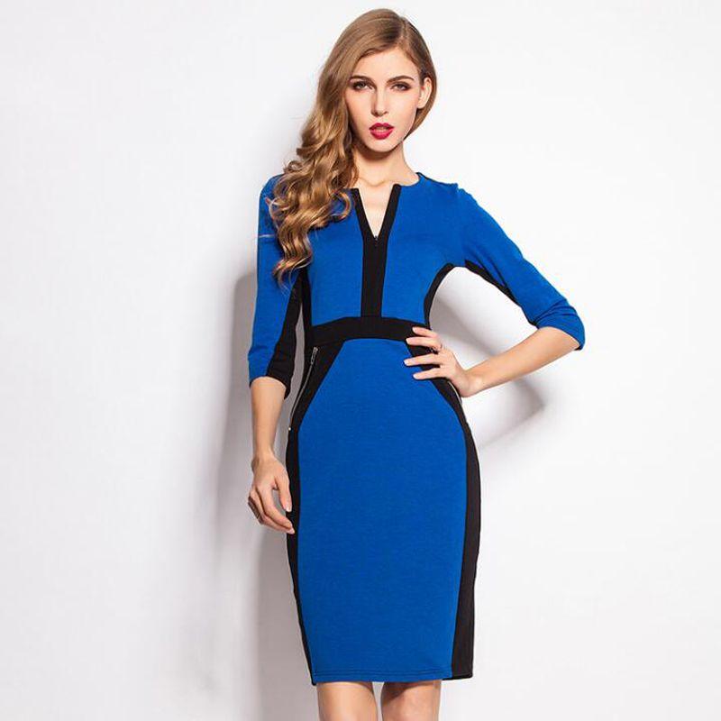 Women work dresses Plus Size Front Zipper Elegant Stretch Dress Bodycon  Pencil Midi Spring Business Casual Dresses