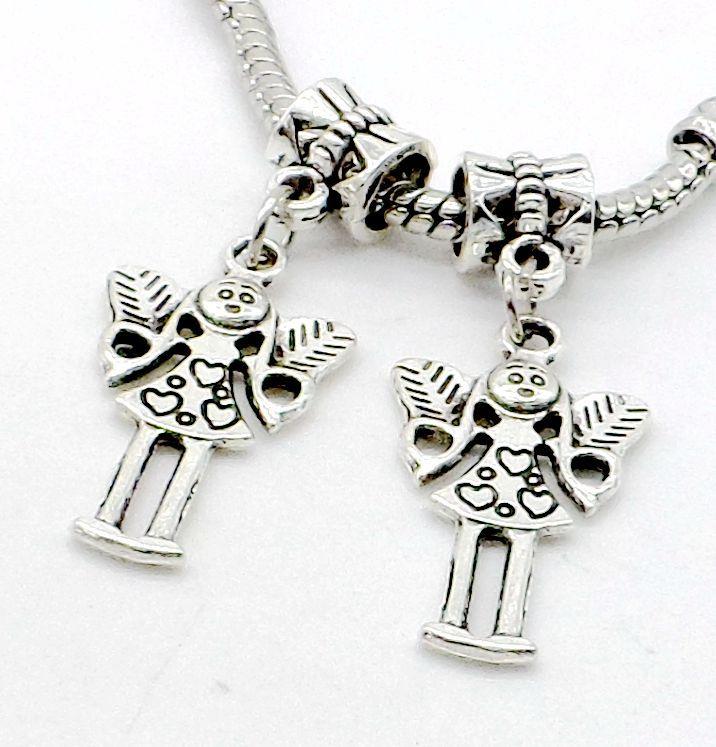 tibetan Silver alloy girl angel Charms Dangle Beads Fit European pendant Bracelet Jewelry Making Diy 35x7mm hole 4mm