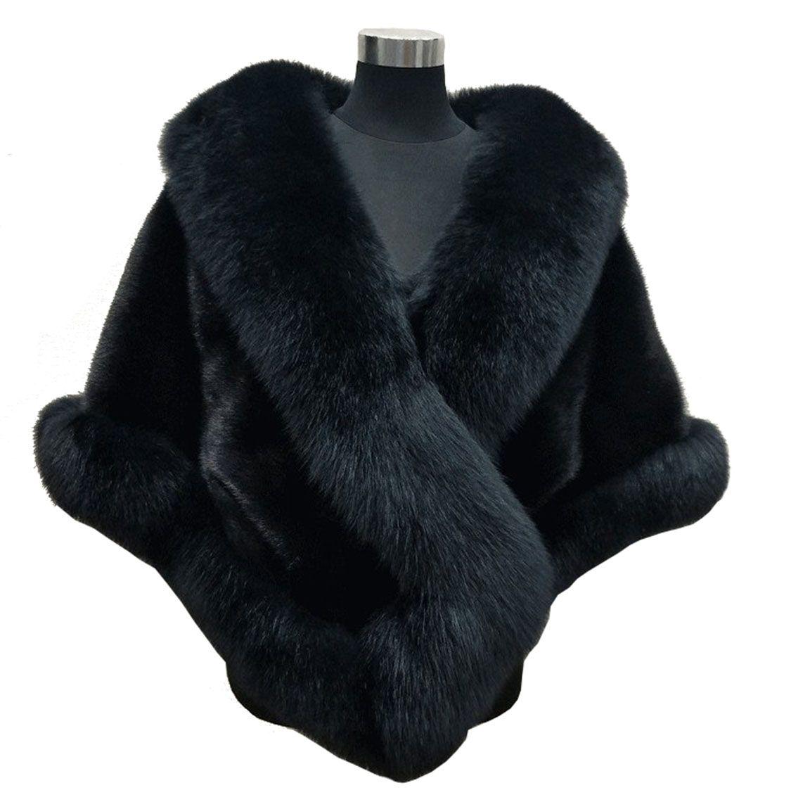 10 Farben Mischaufträge Herbst Winter 2019 neueste lange Fuchs Kunstpelz Braut Wraps Abendkleid Schal Mantel Schal weibliche Party Cocktail