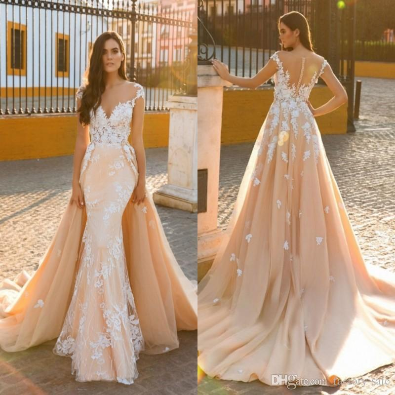 2017 New Champagne Lace Tulle Wedding Dresses With Cape Sheer Jewel ...