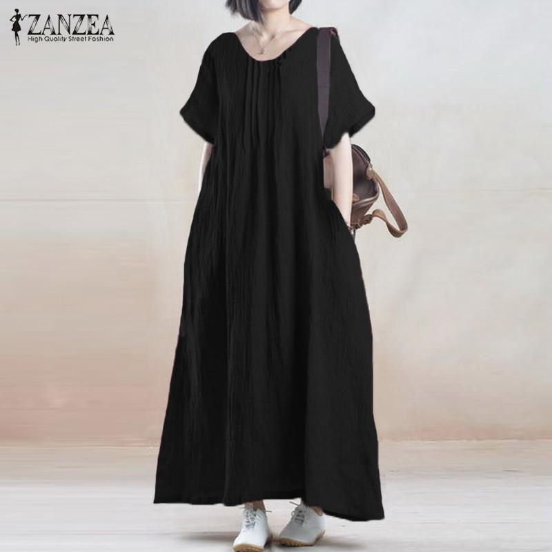 f853fcb4eca3 2019 Wholesale Summer Dress 2017 ZANZEA Women Vintage Casual Loose Solid  Long Maxi Dresses Short Sleeve O Neck Cotton Vestidos Plus Size From  Huoxiang
