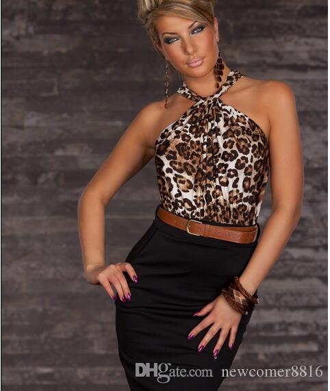 セクシーな女性のクラブウェアのドレスネックホルターヒョウカジュアルドレスベルトネックボディコンストラップレスドレス