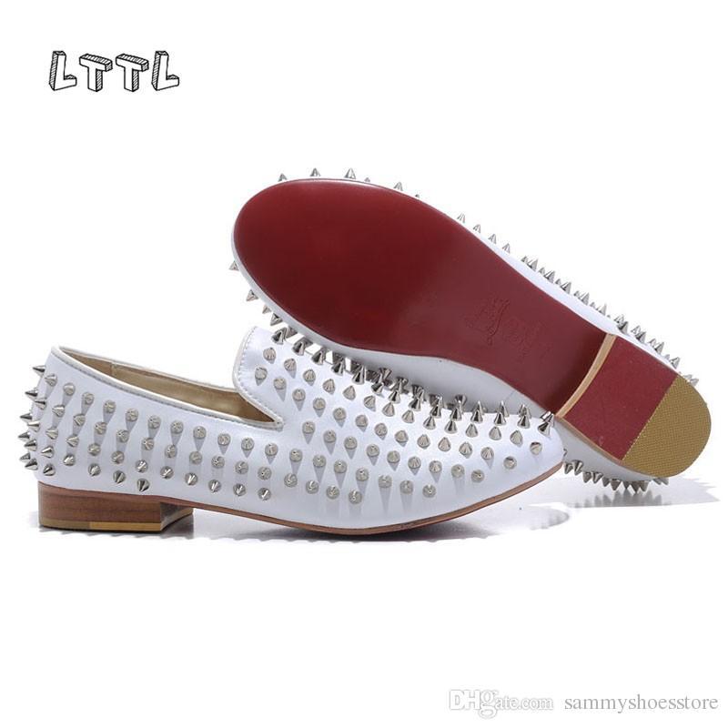 LTTL Custom made Super Leder Weiß spikes herren loafers flach Slip-on Style Männer Kleid Schuhe Männer Business Kleid Schuhe