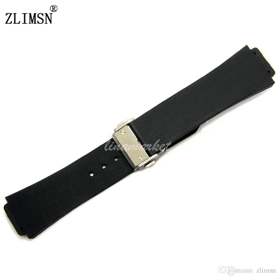 957d1f13227 Diver Silicone Rubber Watchbands 26mm Mens Black Watch BAND Strap With Deployment  Clasp Metal Buckle G S HUB27 Timex Watch Band Watch Band Center From ...