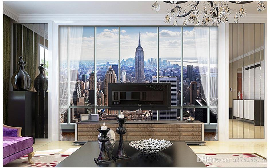 3D photo wallpaper custom wall murals wallpaper European-style 3D three-dimensional window New York high-rise building TV backdrop wallpaper