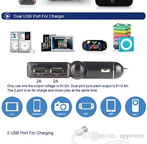 CarBest 블루투스 무선 FM 송신기 라디오 어댑터 핸즈프리 USB 차량용 충전기, MP3 플레이어 음악 컨트롤 아이폰 SE 6s에 대한 차량용 키트를 호출