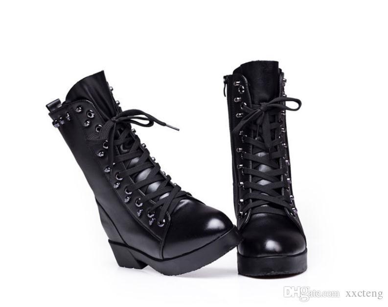 2017 Printemps Automne Escarpins Bottes En Cuir De Mode Femmes Short Boot Rétro Loisirs Flats Chaussure En Cuir Véritable Noir Talon Plat Bottine Boot