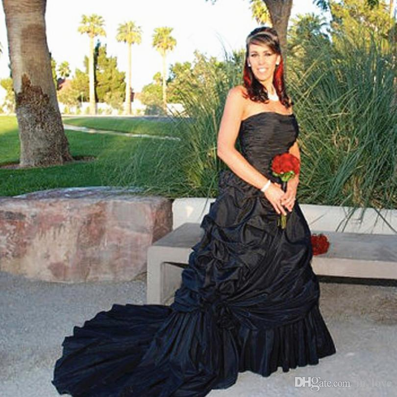 Discount Gothic Style Black Wedding Dresses Strapless