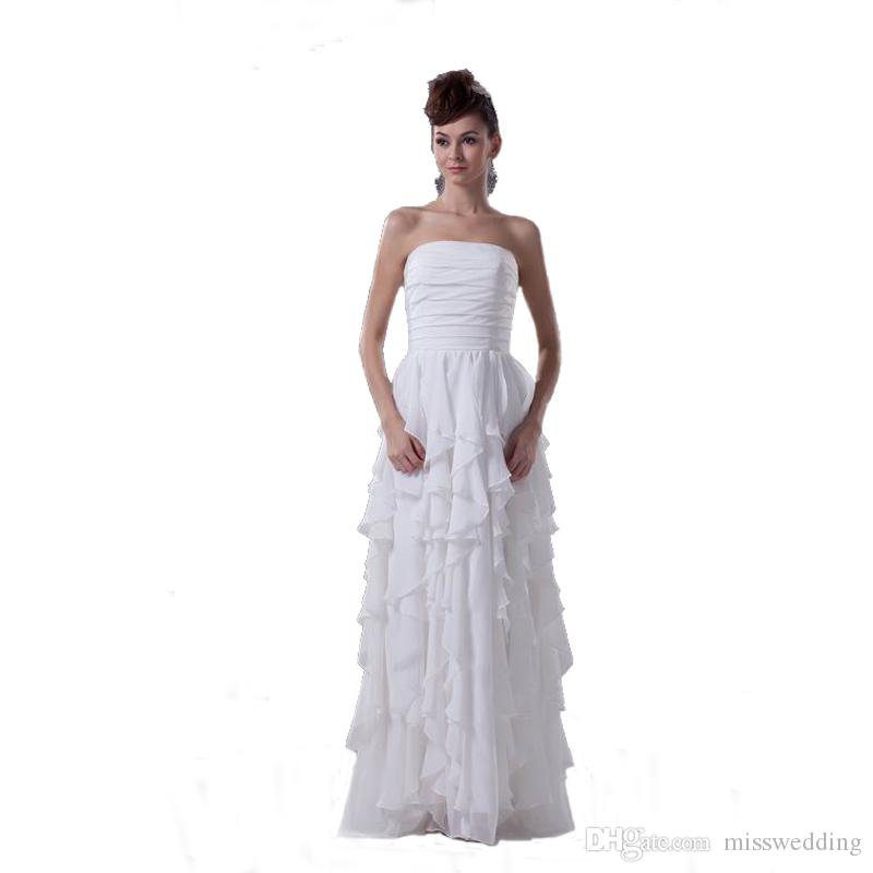 6a848bcd2d 2018 Latest Strapless Ivory Chiffon Wedding Gowns Zip Back Floor Length Beach  Bridal Dress Competitive Price Dress Bride Bridal Gown Wedding Dress Online  ...