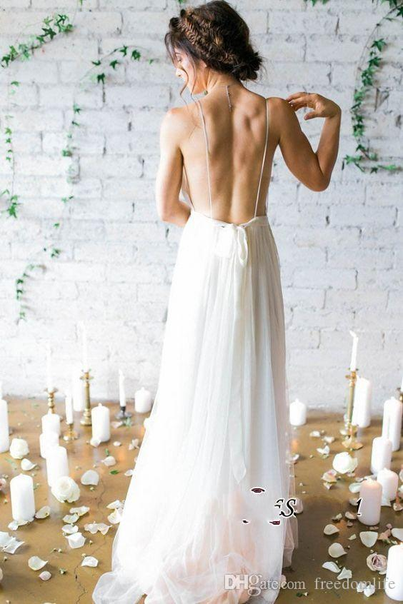 Simple Sexy Deep V Neck Beach Wedding Dresses Backless Tulle Court Train Summer Boho Bridal Gowns Cheap