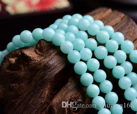 الحجر الطبيعي أكوا امازونيتي جولة فضفاض الخرز ستراند 4MM الحجم لصنع المجوهرات ديي الخرز جميلة هدايا عيد الميلاد