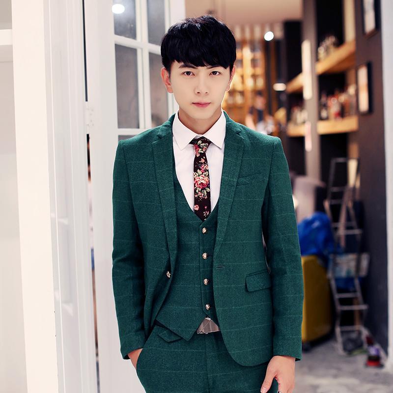 2017 Wholesale Suits Mens Wedding Groom Casual Dress Korean Style ...