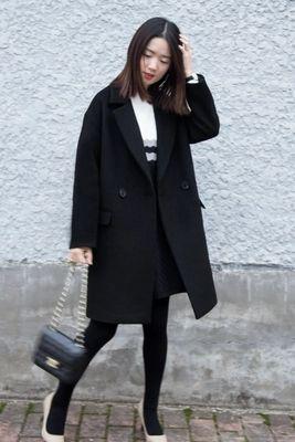 2017 Black Wool Coat Girls Long Korean Winter New Suit Collar ...