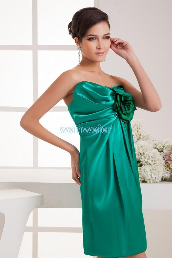2018 new design hot seller custom size handmade flower brides maid dress sexy green short mini Cocktail Dresses