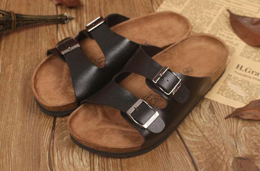 e85cf6f7ae047c 2017 New Summer Beach Cork Slippers Sandals Casual Double Buckle ...