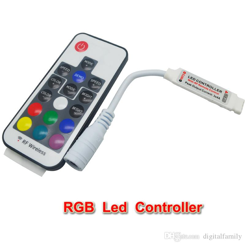 DC12-24V 17 key mini RF wireless led RGB remote controller with 4pin female to control led strip SMD 5050 lighting and module