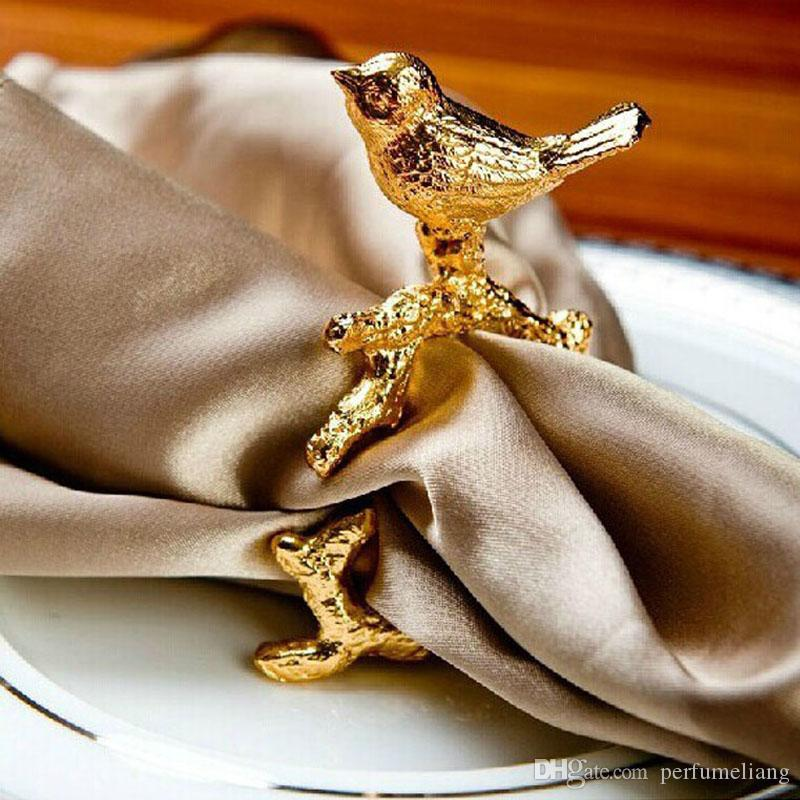 Luxury High-grade Gold Bird Napkin Ring Serviette Holder Design Club Hotel Restaurant Dining Table Decoration ZA3646