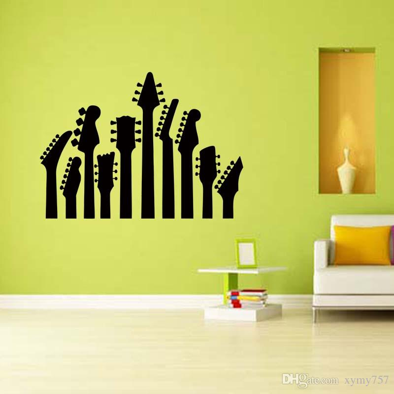 Removable Wall Art for row of guitar necks removable wall art sticker music vinyl