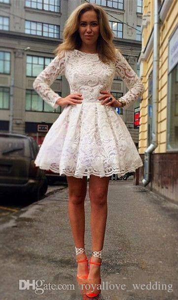 2017 Yeni Zarif Mezuniyet Elbiseleri A-Line Uzun Kollu Dantel Jewl Parti Homecoming Abiye Beyaz Kısa Mini Kokteyl Elbiseleri