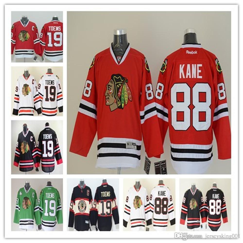 finest selection c7780 7d205 Men's Stitched Men's Chicago Blackhawks Ice Jersey #19 Jonathan Toews #88  Patrick Kane Home/Away/Thrid Premier Hockey Jerseys Mix Order