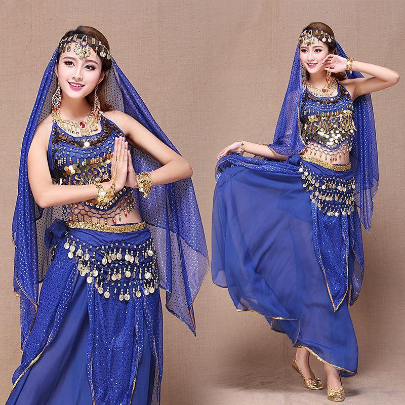 2018 Indian Belly Dance Costume Set Skirt+Top+Belt+Veil+Head ...