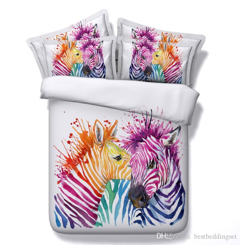 Animal Printed Bedding Sets 3D Colorful Zebra Comforter Sets Queen King Size Duvet Cover Bed Sheet Pillowcases