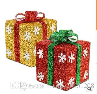 gift box shape merry christmas gift package home holiday party decorations plastic festival decor supplies gift xmas display outside christmas decoration - Christmas Gift Decorations