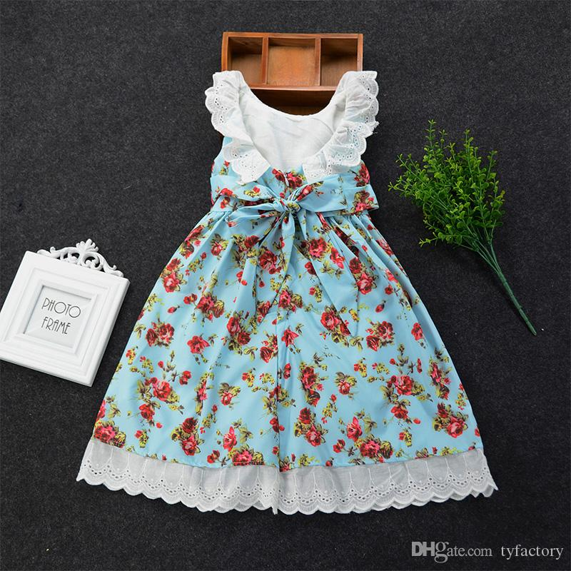 2018 Country Style Lace Fly Sleeve Tutu Backless Dress Baby Girl One