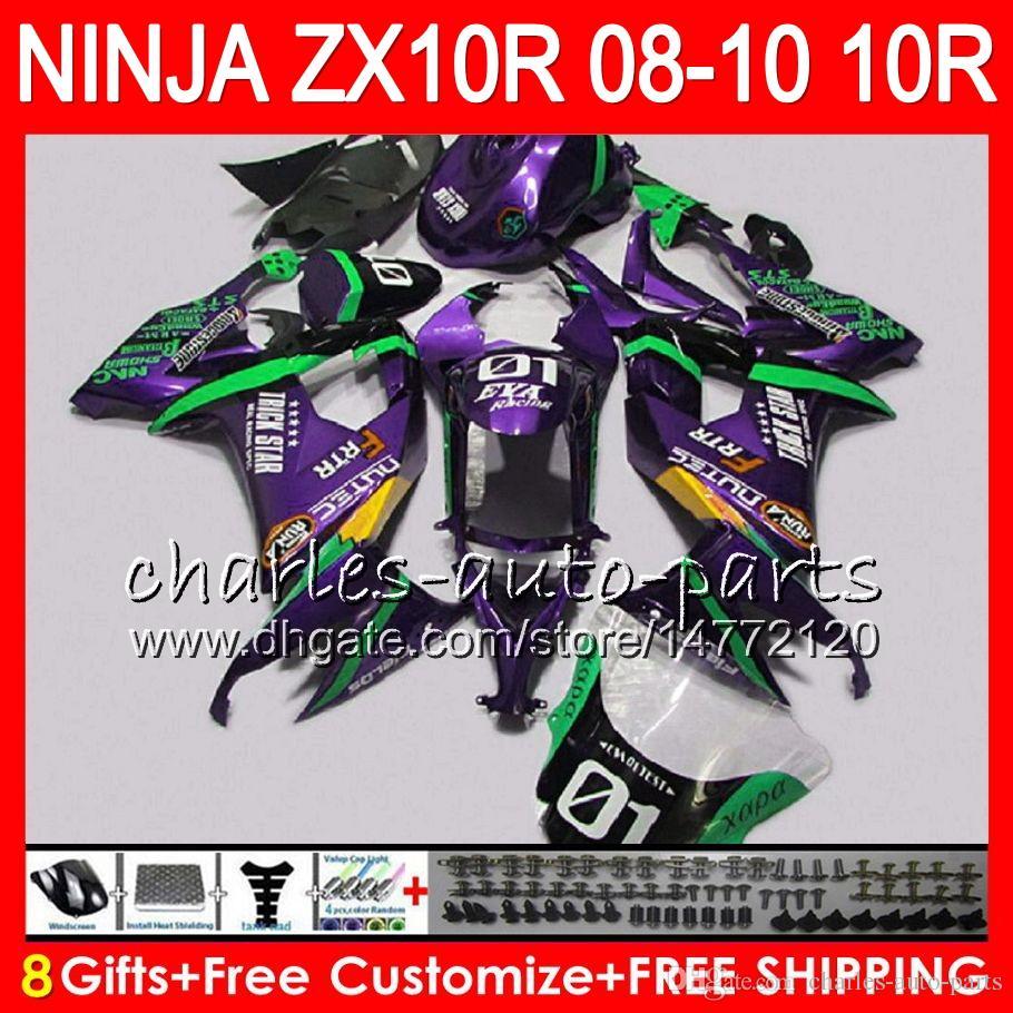 8Gifts Body For KAWASAKI NINJA ZX1000C ZX10R 08 09 10 47HM17 Purple green ZX1000 C ZX 10 R ZX-10R ZX 10R 2008 2009 2010 Fairing kit