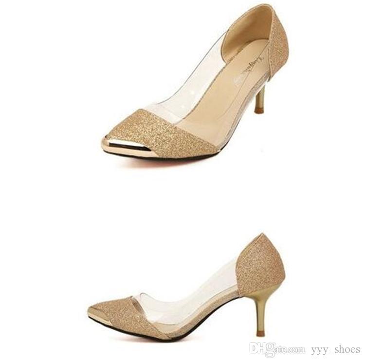 Свадьба банкет Пром один Обувь женская острыми носами обувь выпускные высокие каблуки Леди шпильках каблук 6.5 см блеск прозрачный
