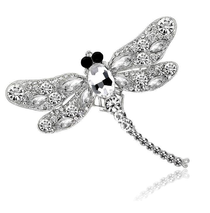 패션 크리스탈 잠자리 브로치 핀 웨딩 파티 신부 액세서리 여성 들러리 보석 모조 다이아몬드 브로치 무료 배송