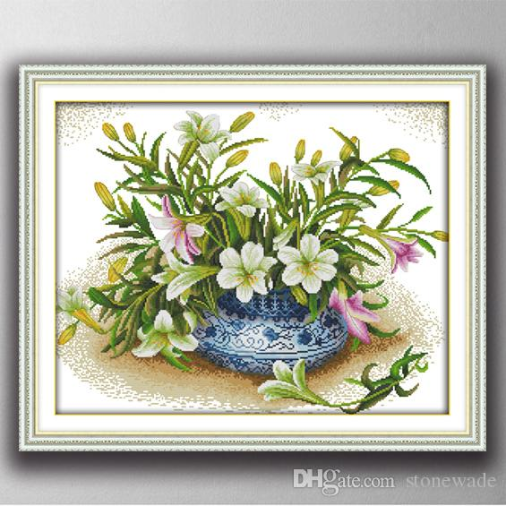 Arts,crafts & Sewing Nice Gorgeous Lily Flowers Diy Home Decor Painting 14ct 11ct Counted Cross Stitch Needlework Set Embroidery Kits Chinese Cross Stitch