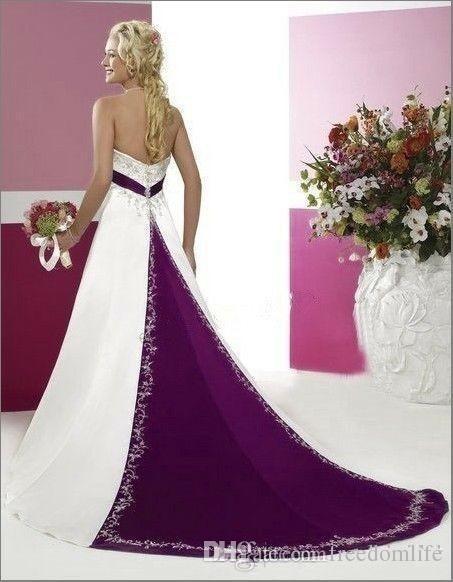 Modest Beyaz ve Kırmızı Gelinlik Boncuklu Nakış straplez A Hattı Ülke elbiseler de mariée ile 2020 straplez gelinlikler